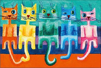 Farbige Katzen