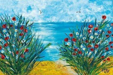 Blühende Uferlaandschaft