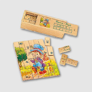 Holz-Domino-Puzzle