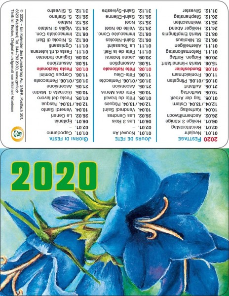 Calendario tascabile 2020